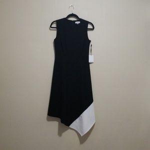 Calvin Klein Sheath Midi Asymmetrical Dress
